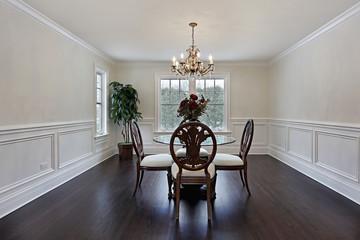 Dining room with dark wood flooring