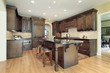 Kitchen with granite island top