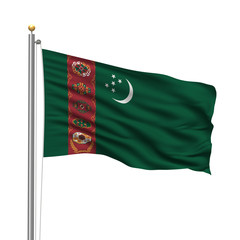 Flag of Turkmenistan waving in the wind in front of white