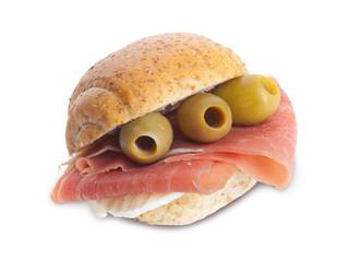 Panino prosciutto crudo, mozzarella e olive
