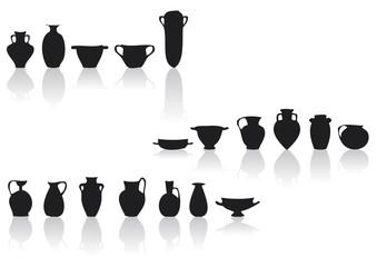 set di vasi in controluce