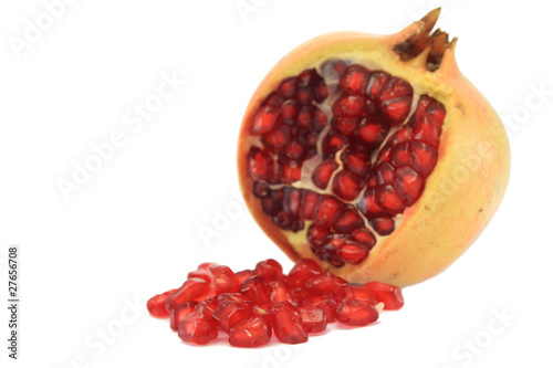 Granat apple with seed with white background