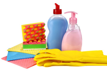 objects for washing and cleaning up on a kitchen
