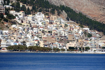 città di Kalymnos sulla costa dell'isola