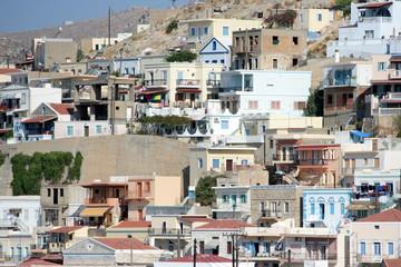 le case della città di Kalymnos, Grecia