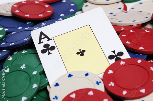 Ace card on poker chips background