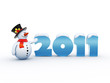 Funny snowman standing by the 2011 numbers