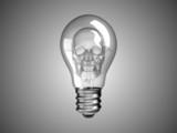 Spooky Skull inside Lightbulb - death and disease poster