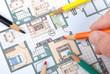 Color pencil and blueprint