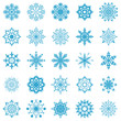 Snowflakes vector collection isolated on white.
