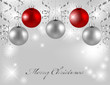 Christmas card with silver and red balls
