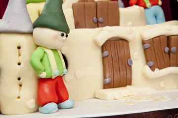 detail of a cake dwarf with castle