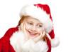 Mädchen als Christkind / Weihnachtsmann verkleidet lacht
