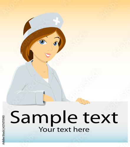 Cartoon medical nurse with advertising blank