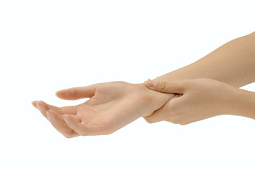 脈をとる手