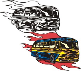 The blue bus with a yellow strip. Flaming hotrods.