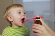 2 years old baby boy and medicine, cough syrup