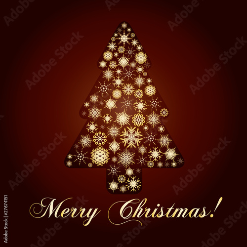 Gold fir tree made from golden snowflakes, vector
