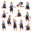 Collage of little boy playing with tools