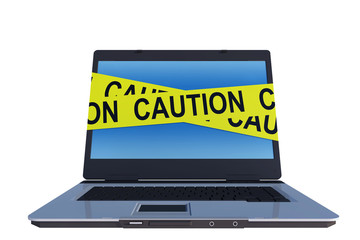 laptop computer with caution line around screen