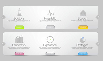 Website menu template with icons set