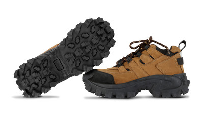 Tough hiking shoes isolated on white background
