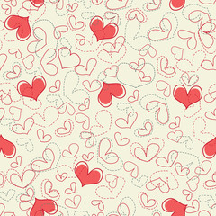 Cute hearts seamless background