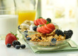 healthy breakfast with cereal and fruits