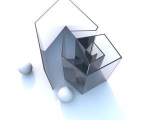 Struttura in vetro con sfere