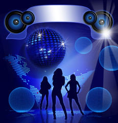 Disco Party on blue background with sexy girls shapes