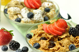 cereal with fruits and berries close up