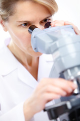 Woman with microscope