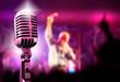 Leinwanddruck Bild - fondo de musica con microfono y concierto