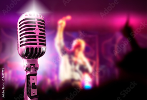 Leinwanddruck Bild fondo de musica con microfono y concierto