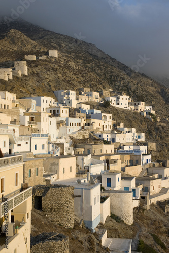Scenic view of Olympos at dusk - Karpathos, Dodecanese