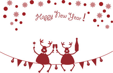 Two deers celebrate New Year