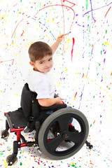 Boy Child Painting Wheelchair