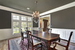 Dining room with olive-colored walls