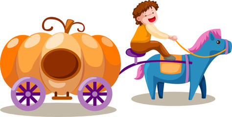boy driving pumpkin carriage