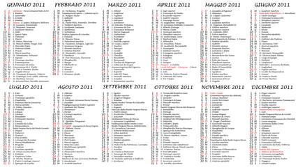 2011 Calendario con festività italiane e Santi