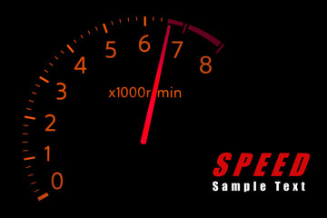 Car Tachometer reaching the red zone with copy space