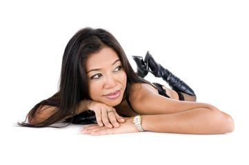 pretty asian woman in lingerie