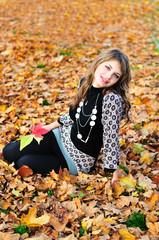 in falling leaves