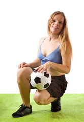 Girl with football ball