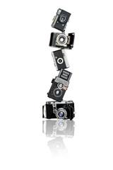Pyramid of old cameras
