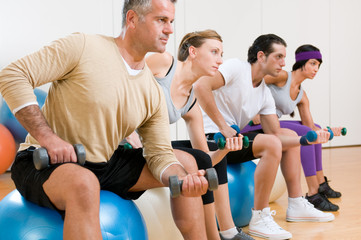 Fitness exercises at gym