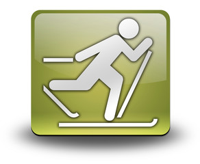 """Yellow 3D Effect Icon """"Cross-Country Skiing"""""""