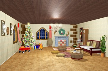 Natale Interno Casa-Christmas Home Interior-3D