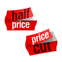 Price cut and Half price stickers