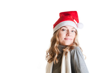 woman in Santa hat